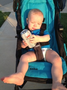 The first time you had beer - just joking! Mommy and Daddy were just making a funny photo!